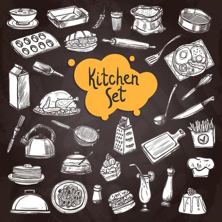lavagna alimentare set con disegnata a mano attrezzatura da cucina sulla lavagna isolato illustrazione vettoriale Vettoriali