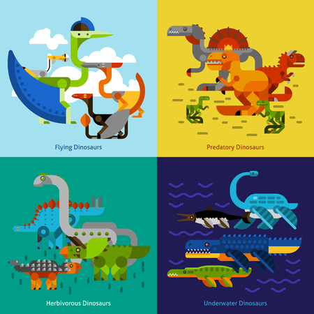 dinosaurio: Dinosaur design concept set with flying underwater predatory prehistoric animals flat icons isolated vector illustration