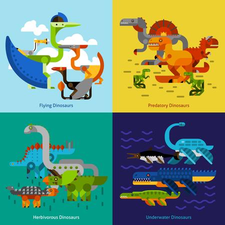 prehistoric animals: Dinosaur design concept set with flying underwater predatory prehistoric animals flat icons isolated vector illustration