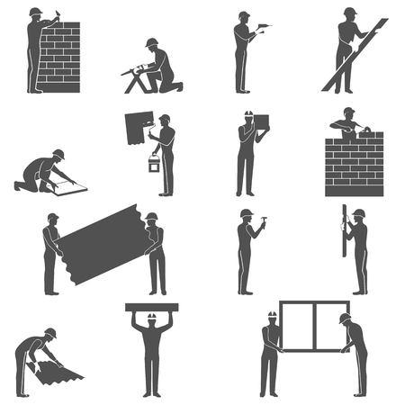 albañil: Constructores iconos negros establecidos con la gente handyman siluetas ilustración vectorial aislado