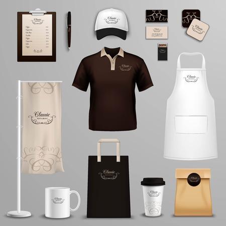 uniform: Diseño corporativo y la identidad de la marca para los restaurantes clásicos restaurantes de la cadena de muestras pictogramas conjunto abstracto aislado ilustración vectorial