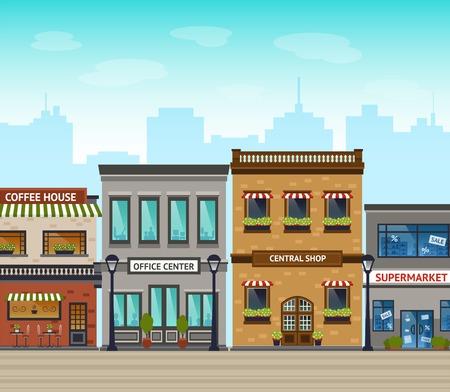 Downtown straat met winkels en een supermarkt lijn buitenkant en de stad wolkenkrabbers op de achtergrond vector illustratie