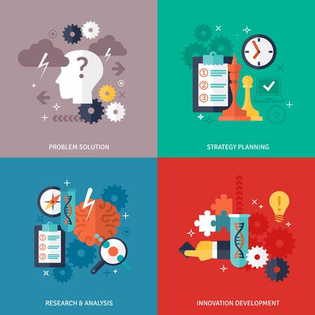 tecnologias de la informacion: Flujo de trabajo y de negocios iconos Set con la solución de un problema de planificación de la estrategia de investigación y desarrollo símbolos ilustración del vector aislado plana
