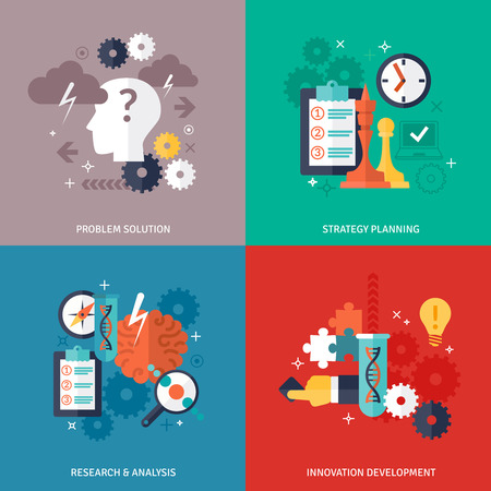 Workflow and business icons set with problem solution strategy planning research and development symbols flat isolated vector illustration Illustration
