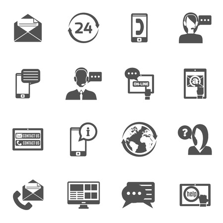 contact information: Contact us service line black icons set isolated vector illustration Illustration