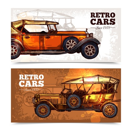 old style retro: Retro cars horizontal banner set with hand drawn old style vehicles isolated vector illustration