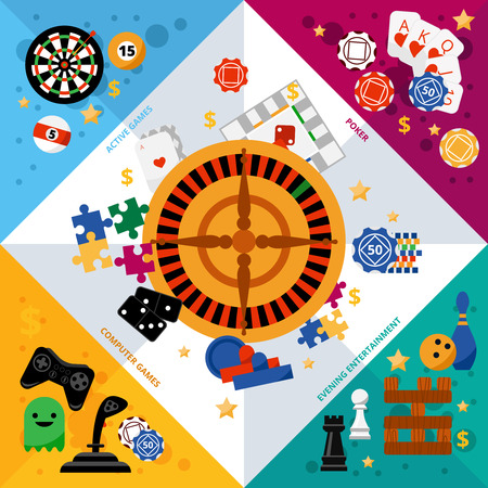 roulette online: Popular gambling games symbols geometric corner colorful composition banner with roulette central square abstract vector illustration