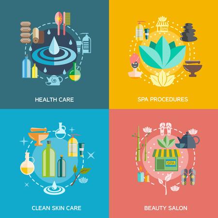 procedure: Icone Spa impostato con procedure di assistenza sanitaria spa la cura della pelle e salone di bellezza simboli piatto isolato illustrazione vettoriale Vettoriali