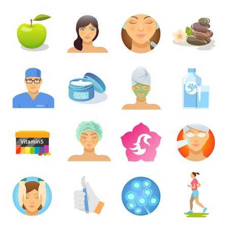 Rajeunissement et soins de la peau icônes plates mis isolé illustration vectorielle