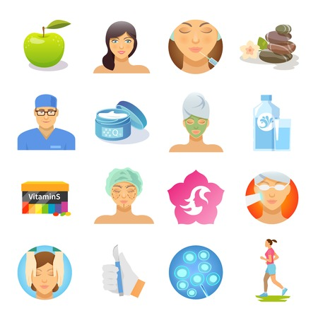 Rejuvenation and skin care flat icons set isolated vector illustration Çizim