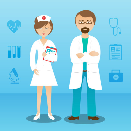 nurse uniform: Medical personnel in white lab coat whole length man woman doctor assistant professionals characters abstract vector illustration