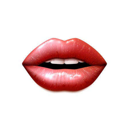 sexy tongue: Realistic female open mouth with lips covered with shiny gloss vector illustration