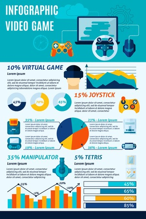 simbols: Video game infographics set with virtual play simbols and charts vector illustration