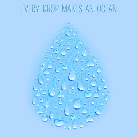 ciclo del agua: Fondo en forma de impresión del cartel del ciclo natural del agua concepto de símbolo de la gota ecológicamente limpia fresca azul resumen ilustración vectorial