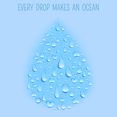 droplet: Fresh ecologically clean natural water cycle concept symbol drop shaped background poster print blue abstract vector illustration