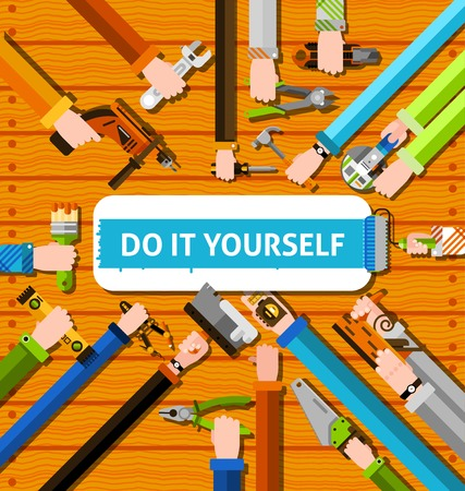 human vector: DIY poster with human hands holding repair tools on wooden background vector illustration