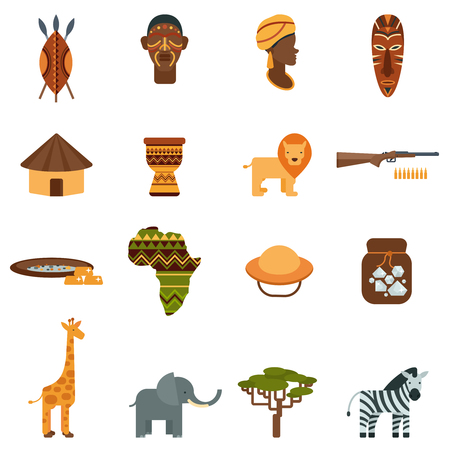 traditional culture: African natural world and culture black icons set with wild animals and plants abstract isolated vector illustration