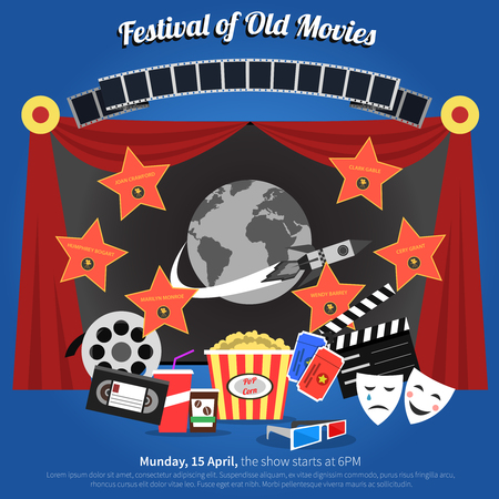 movie poster: Movie festival poster with film industry symbols flat vector illustration