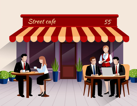 outdoor cafe: Street cafe outdoor terrace business lunch scene with waitress taking order flat banner print abstract vector illustration.