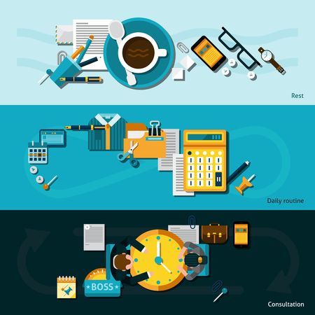 routine: Office horizontal banner set with flat daily routine business elements isolated vector illustration