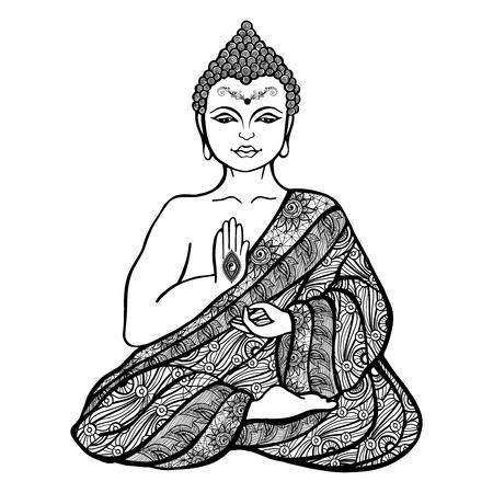 装飾的な装飾用の布スケッチ ベクトル図に蓮華座仏