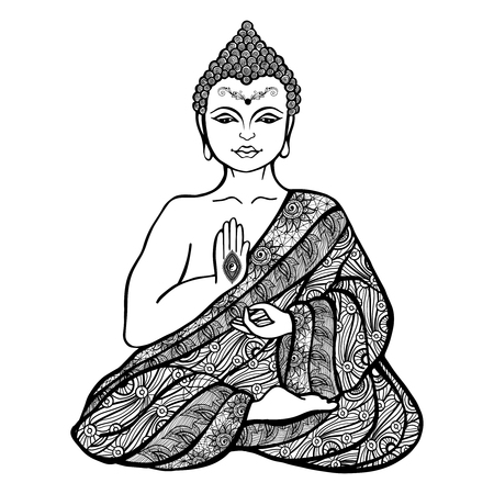 Decorative buddha in lotus position in ornamental cloth sketch vector illustration