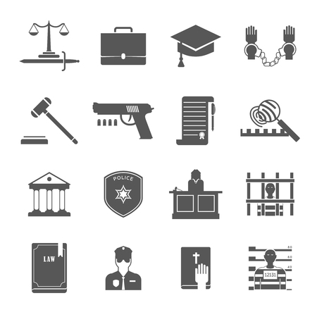 Law enforcement and court black white icons set with lawyers police and criminal flat isolated vector illustration Illustration