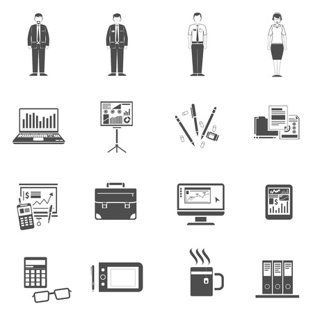 secretary on phone: Office life icons black set with business process equipment isolated vector illustration