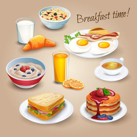 hot cakes: Clásica cartel menú de desayuno del hotel con huevos fritos tocino y jugo de naranja pictogramas realistas ilustración vectorial composición