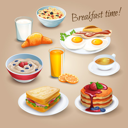 plate of food: Classical hotel breakfast menu poster with fried eggs bacon and orange juice realistic pictograms composition vector illustration