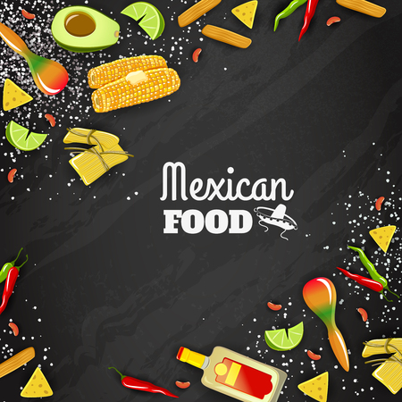 Mexican national cuisine and traditional food text bright color background poster vector illustration