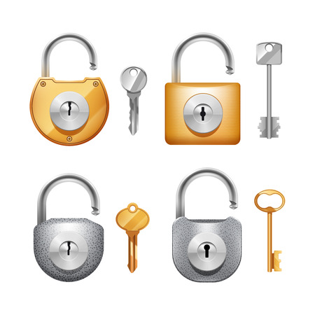 wicket door: Metal padlocks and keys in different shapes realistic set isolated vector illustration Illustration