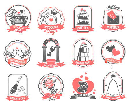 arch: Wedding party love symbols emblems set with engagement rings hearts and roses outline abstract isolated vector illustration