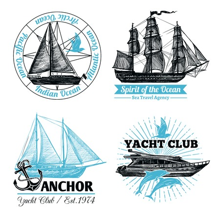 Marine labels set with hand drawn sail ships and cruise yacht isolated vector illustration Illustration