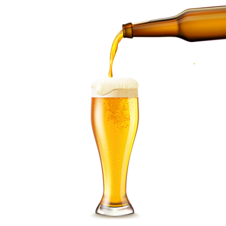 Beer pouring from dark bottle to glass realistic vector illustration