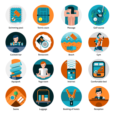 health care facility: Hotel offers and facilities round icons set with sports recreation and health care flat isolated vector illustration Illustration