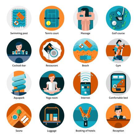 bagagli: offerte di hotel e strutture rotonde impostare le icone con la ricreazione di sport e assistenza sanitaria piatto isolato illustrazione vettoriale Vettoriali