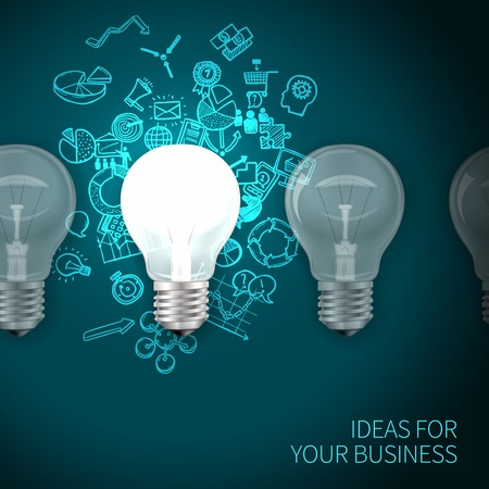 Business idea poster with realistic lightbulbs set and marketing symbols on background vector illustration