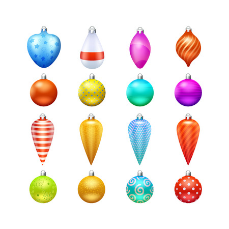 toys pattern: Christmas toys and decorations in different shapes and colors realistic icons set isolated vector illustration