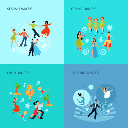 dancing: Social ethnic latin and theatre dances flat style 4 posters concept isolated vector illustration Illustration