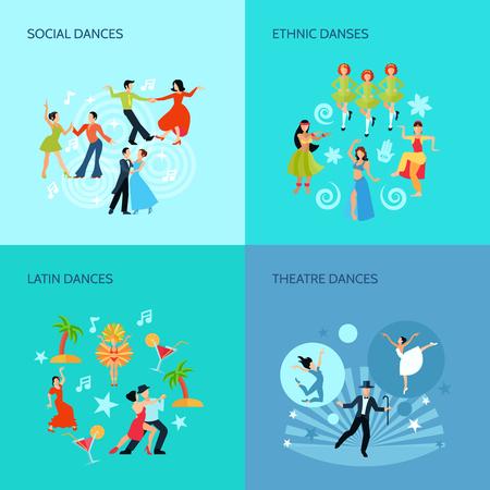 baile latino: Social latino �tnica y teatro baila estilo plano 4 posters concepto de ilustraci�n vectorial Vectores