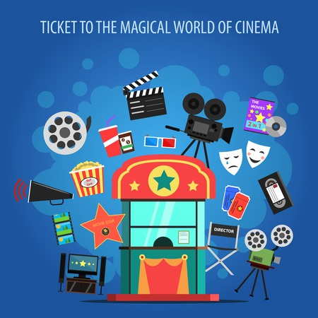 illustration industry: Movie industry concept with cinema flat icons set vector illustration