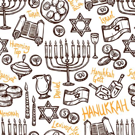 sukkot: Hanukkah seamless pattern with hand drawn menorah torah and traditional food vector illustration