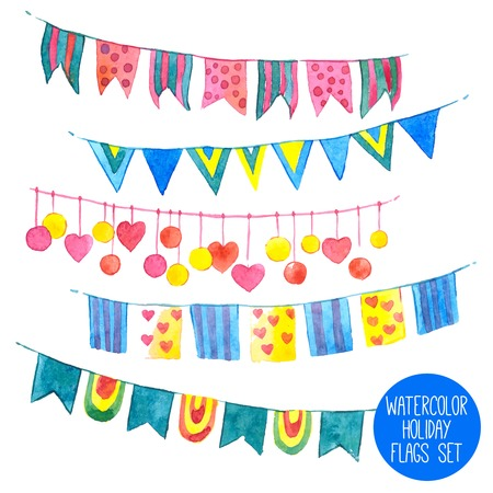 Water color holiday flags and garlands set isolated vector illustration Illustration