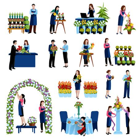 arch: Florists arranging cut flowers and decorating wedding arch with roses flat icons set abstract isolated vector illustration