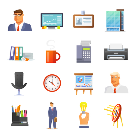 stationery items: Office icons flat set with businessmen avatars and stationery items isolated vector illustration