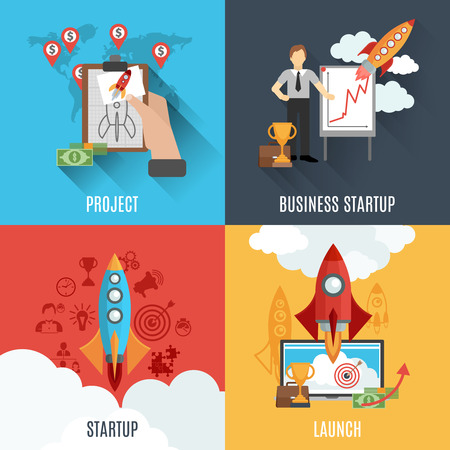 profitable: Innovative profitable business startup project 4 flat icons composition poster with rocket launch abstract isolated vector illustration