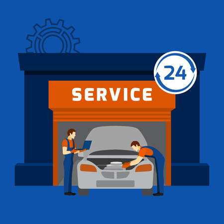 auto service: Automobile repair shop and 24 hours auto mechanic garage car maintain service flat banner abstract vector illustration