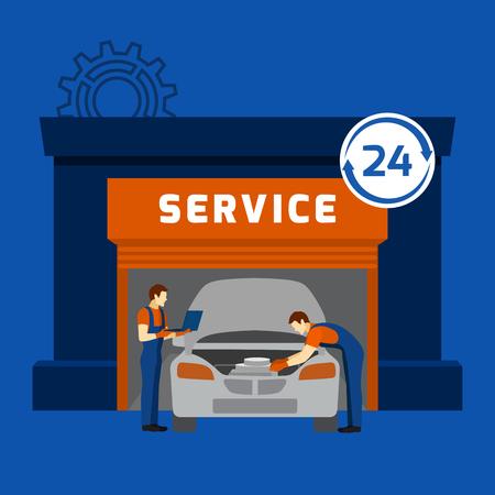Motoryzacja warsztat i 24 godzin mechanik auto w garażu utrzymanie serwisu płaskim banner Streszczenie ilustracji wektorowych Ilustracje wektorowe