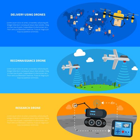 drones: Drones horizontal banners set with delivery reconnaissance and research drones flat isolated vector illustration